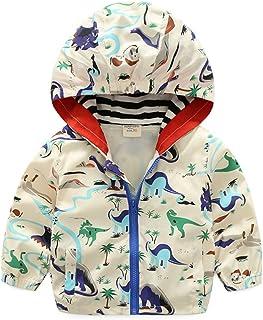 ALLAIBB Little Baby Boys Jacket Cartoon Dinosaur Windproof and Waterproof