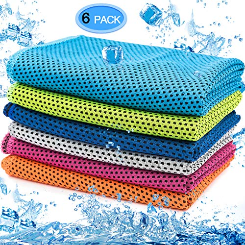 MENOLY 6 Pack Cooling Towel, Ice Towel Microfiber Towel Soft Breathable Chilly Towel for Sports, Gym, Yoga, Camping, Running, Fitness, Workout & More Activities