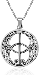 MIMI Sterling Silver Sacred Chalice Well Symbol of Avalon in Glastonbury Pendant Necklace, 18 inches