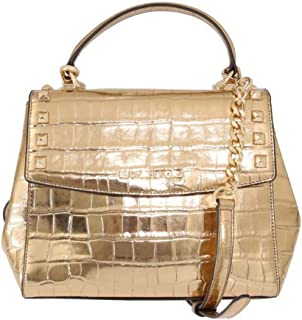 4c15b501fe4f Michael Kors Karla Top Handle Embossed Leather Satchel Crossbody (Medium,  Gold)