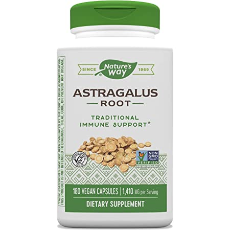 Nature's Way Astragalus Root Capsules, 1,410 mg per serving, TRU-ID Certified, Non-GMO Project, Vegetarian, 180 Count