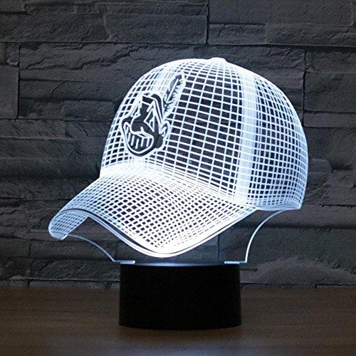 Kinder nachtlicht,Cleveland Indians Baseball Cap 3D Bunte Noten-LED Visuelle Schreibtisch-Licht