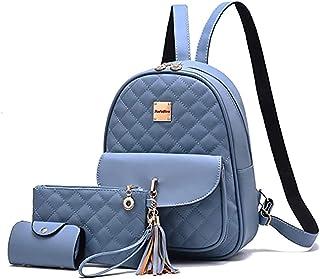 SaleBox® Fashion Girls 3-PCS Fashion Cute Stylish Leather Backpack & Pouch Set for Women School & College Girls (TCMB)