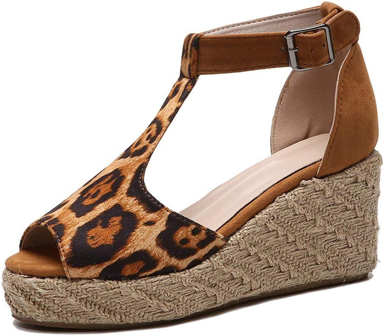WTKRSM Women's Buckle with Wedge Sandals Open Toe Linen Midsole Fashion Sandals