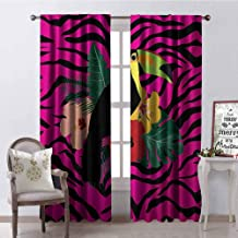 GUUVOR Pink Zebra Blackout Curtain Toucan Bird Sitting on Hibiscus Plants Flowers Large Leaves on Zebra Background 2 Panel Sets W84 x G72 Inch Multicolor