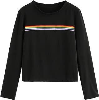 Women's Long Sleeve Summer Rainbow Color Block Striped Crop Top School Girl Teen Tshirts