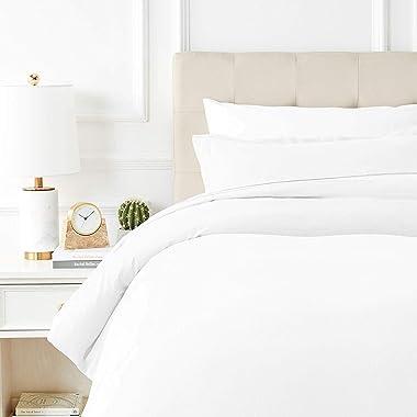 Mayfair Linen 800 Thread Count 3Pc White Oversized King Duvet Cover, 100% Long Staple Egyptian Cotton Quilt Cover Silky Soft,