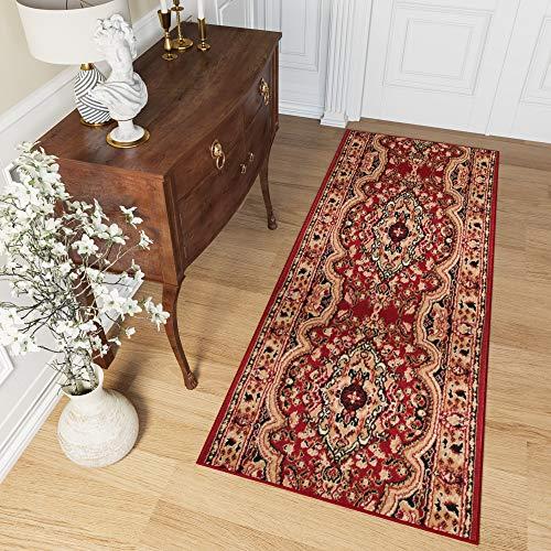 Tapiso Atlas Läufer Flur Kurzflor Teppich Wohnzimmer Küche Klassisch Blumen Floral Streifen Muster Traditionell Rot Beige ÖKOTEX 100 x 200 cm