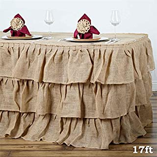 BalsaCircle 17 feet x 29-Inch Natural Brown 3 Tiers Ruffled Burlap Table Skirt Linens Wedding Party Event Decorations Kitchen Dining