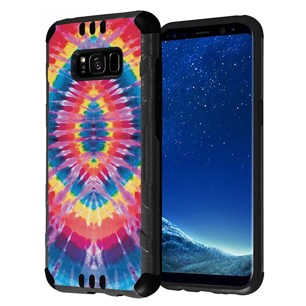 Capsule Case Compatible with Galaxy S8 [Hybrid Fusion Dual Layer Slick Armor Cushion Case Black] for Samsung Galaxy S8 SM-G950 SPHG950 - (Tie Dye)