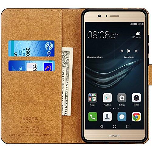 HOOMIL Handyhülle für Huawei P9 Lite Hülle, Premium PU Leder Flip Schutzhülle für Huawei P9 Lite Tasche, Schwarz - 2