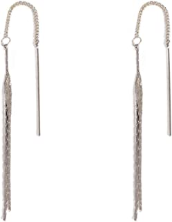 Silver Tone Fine Thread Chain Earrings
