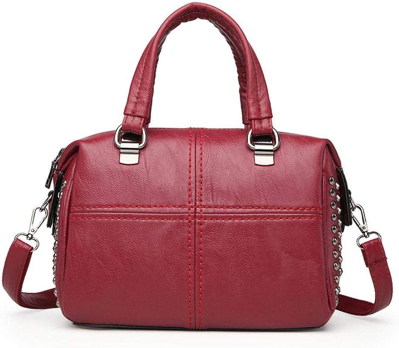 Sxuefang Damen Damen Damen Handtasche aus Leder Tasche Messenger Tasche Weiche Haut Niet Tasche Temperament Schulter 26,5  12  18 cm B07GLP4FYZ  Qualitätskleidung b8eb88