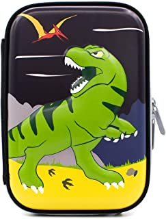 Dinosaur Boys Cute School Supply Organizer Cool Pencil Case Box Holder Bag with Zipper for Kids Girls Children (Green Dinosaur)