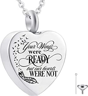 CHARM ONLINE Heart Urn Necklace for Ashes I Love You Always in My Heart Cremation Jewelry Memorial Ashes Keepsake Pendant ...