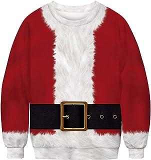 EUDOLAH Men's Christmas Long Sleeve Jumper Round Neck Reindeer Lovely cat Pattern Unisex