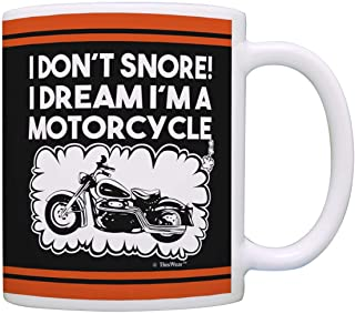 Biker Gifts I Don't Snore Dream I'm a Motorcycle Dad Grandpa Gag Gift Coffee Mug Tea Cup Black