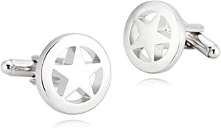 Epinki Mens Stainless Steel Silver Hollow Shiny Tone Lone Star Shirt Cufflinks for Wedding Business