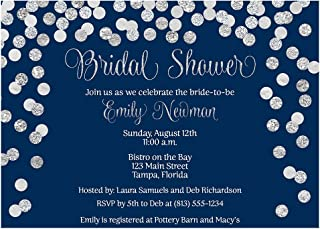 Bridal Shower Invitations Confetti Wedding Party Invites Brunch and Bubbly Baby Sprinkle Rehearsal Dinner Customize Cards Champagne Silver Navy Blue Glitter (10 Count)