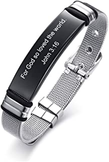 DAIDAISL Custom Cross Men'S Stainless Steel Bracelet Christian Lord'S Prayer Personalized Adjustable Male Bangle Dropshipping