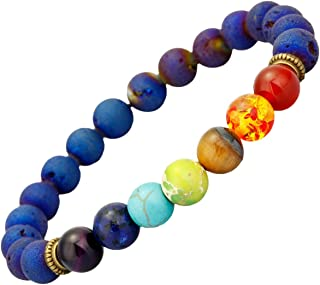 8mm Natural Lava Rock Stones Beads Bracelets for Men, 7 Chakra Yoga Aromatherapy Essential Oil Diffuser Bracelets for Women