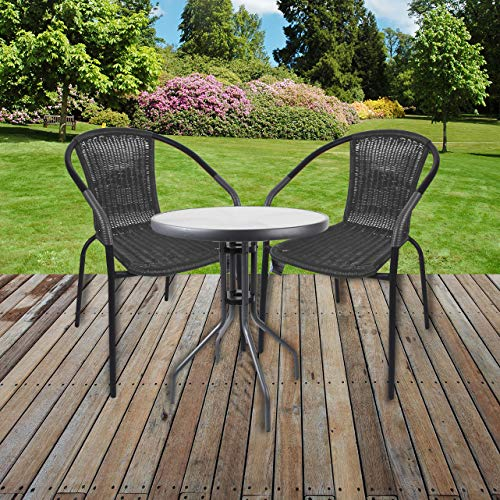 Marko Bistro Set Grey Wicker Chairs Round Glass Table Rattan Seat Outdoor Garden Patio (Table with 2 Chairs)