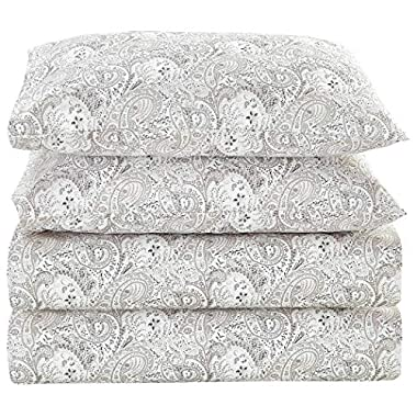 Mellanni Bed Sheet Set Brushed Microfiber 1800 Bedding - Wrinkle, Fade, Stain Resistant - Hypoallergenic - 4 Piece (King, Paisley Gray)