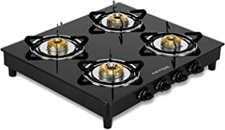 Black Pearl Lifestyle Glass Top Gas Stove, 4 Burner Gas Stove, 2 Years Warranty, Doorstep Service