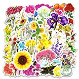 Vinyl Spring Flower Stickers 50 Pcs Pack Cute Flower Decals for Laptop Car Luggage Water Bottle Helmet Teen Scrapbooking Embellishments & Decorations(Flower)