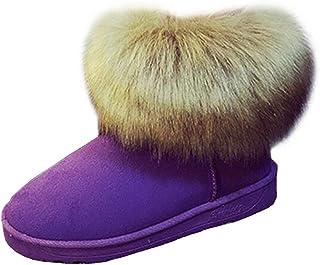 Women's Round-Toe Flat Slip-On Fur Snow Boots (Color : Purple, Size : 6 UK)