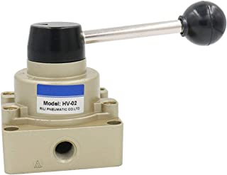 Baomain Rotary Lever Hand Valve HV-02 PT1/4 Air Flow Control 3 Position 4 Way