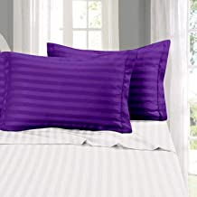 Cloth Fusion Amor 210 TC Satin Stripe Cotton Pillow Covers Set of 2 Pieces (18×27 Inch, Purple)