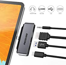 Moskee USB C Hub for iPad Pro 2018, 4K HDMI USB C 3.5mm Audio 4 in 1 Type C hubs for/MacBook/MacBook Pro/Surface Go/USB C Mobile Phone