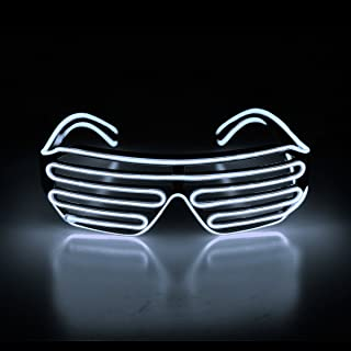 Aquat Light Up Flashing Shutter Neon Rave Glasses El Wire LED Sunglasses Voice Activated Glow DJ Costumes for 80s, EDM, Party RB02 (White, Black Frame)