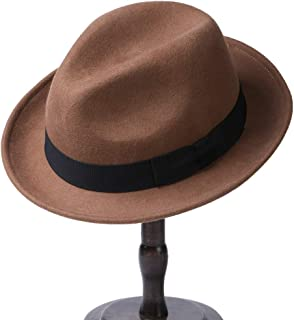 Erigaray Men's 100% Pure Wool Classic Manhattan Trilby Dress Fedora Hats