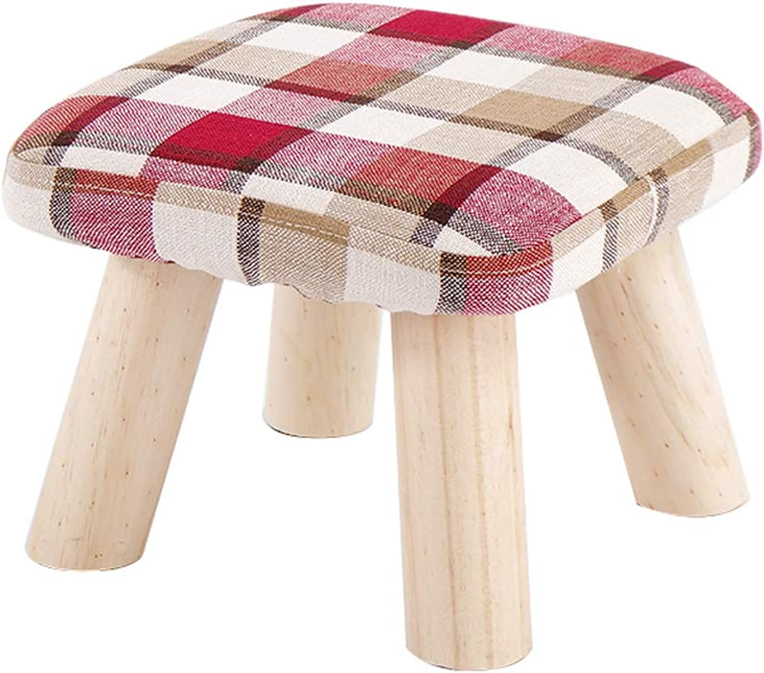 Small Stool Solid Wood Coffee Table Sofa Stool Fabric Small Bench Stool Fashion Creative shoes shoes Bench (Size   28  28  28cm)