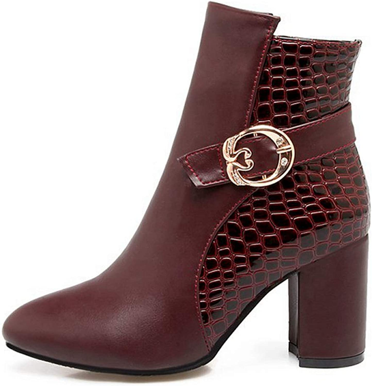 GIY Women's Buckle Heel Closed Toe Short Ankle Bootie Side Buckle Casual Comfortable Walking Martin Boots