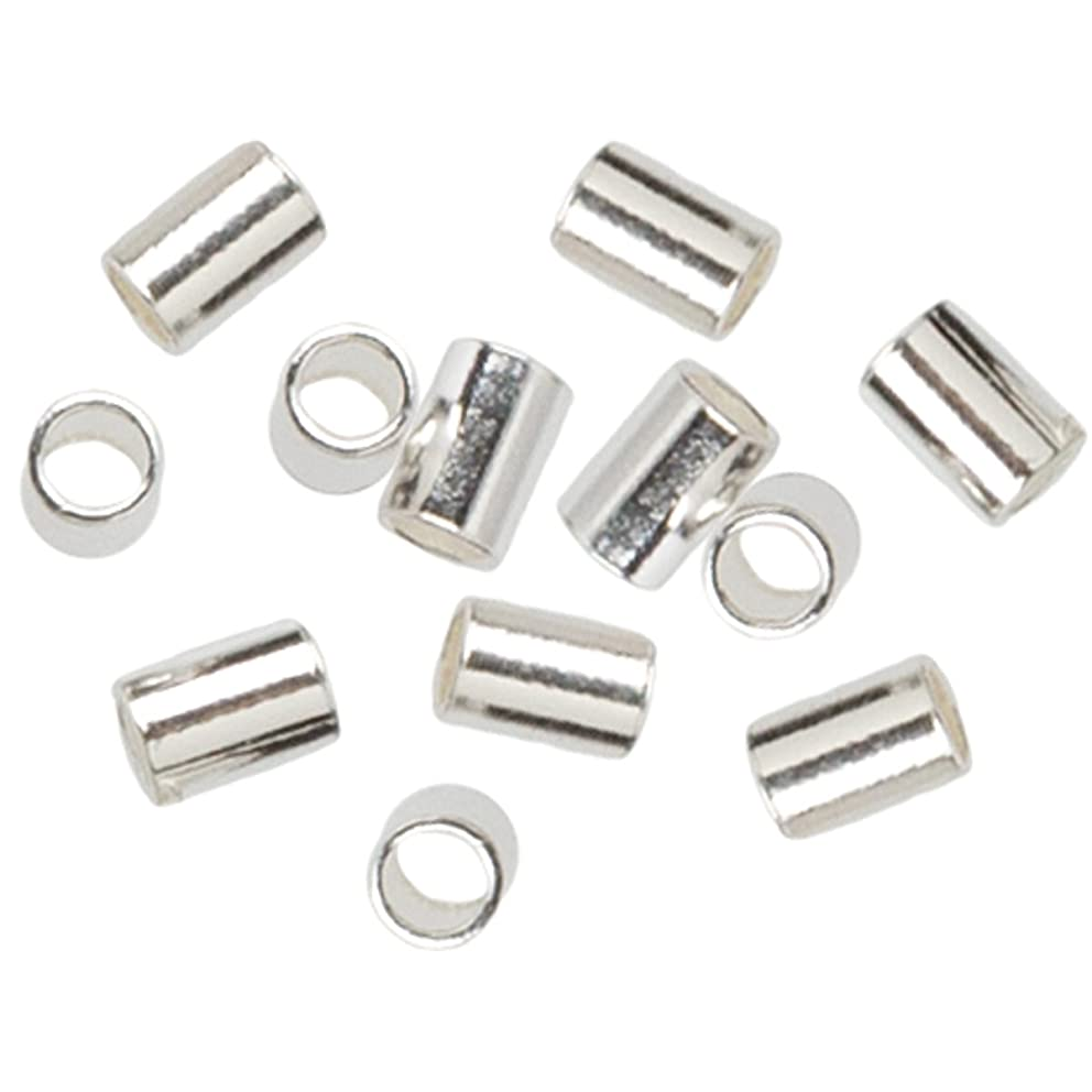 Cousin 2950225 Plated Silver Elegance 45-Piece Silver Plate 2 by 3mm Crimp Bead