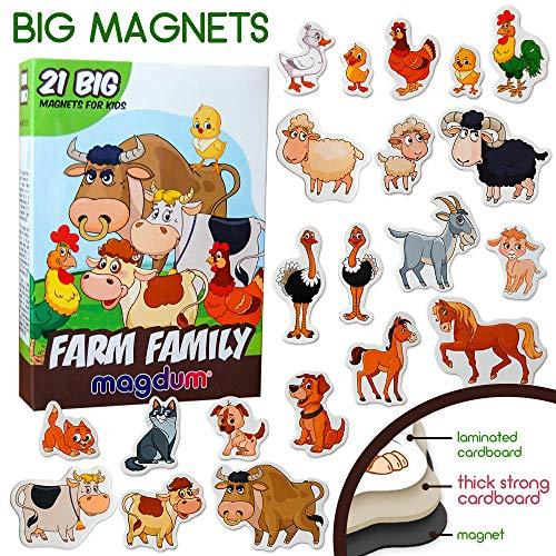MAGDUM Bauernhof Familie Tiere Set – Tiermagnete für Kinder - Echte Große Kühlschrank Magnete für Kleinkinder – Spiele für 3 Jährige - Spielzeug Tiere - Magnet Set - Magnet Spiele für Kinder