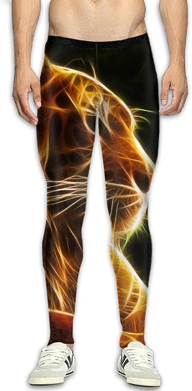 Mens Fantasy Tiger Compression Pants Sport Tight Leggings Elastic Waist Baselayer Yoga Sports Trousers