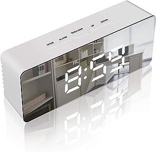 置き時計 目覚まし時計 LED デジタル 多機能 アラーム カレンダー 温度 省エネ おしゃれ 卓上 寝室 台所 日本語説明書付き (ホワイト+ブラック)