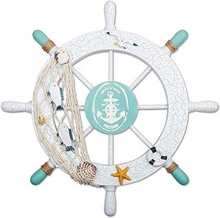 Fangoo 28 CM Rueda de Barco de Madera con Cuerda Barco de Madera náutico Volante de Barco Timón Decoración de Pared Adorno Colgante de Puerta (Verde)
