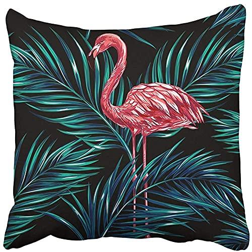 Throw Pillow Cover Poliéster 18X18 Pulgadas Negro Verano Rosa Flamencos Hojas de Palmera Tropical Hermoso patrón Floral Azul Abstracto Dos Lados Decorativo Cuadrado Funda de Almohada para el h