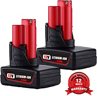 2Pack 6.0Ah m 12 Battery for Milwaukee, 12-Volt Lithium-ion Battery for Milwaukee 48-11-2411 Lithium Cordless Milwaukee Tools