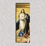 Virgen Maria Inmaculada de Murillo 44x16x1 Cuadro madera DMF con copete moldurado pan de oro envejecido con colgador triangular clavado incluido.