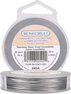 BENECREAT 7-Strand Bead String Wire Nylon Coated Stainless Steel Wire 0.5mm TWIR-BC0001-02C-US
