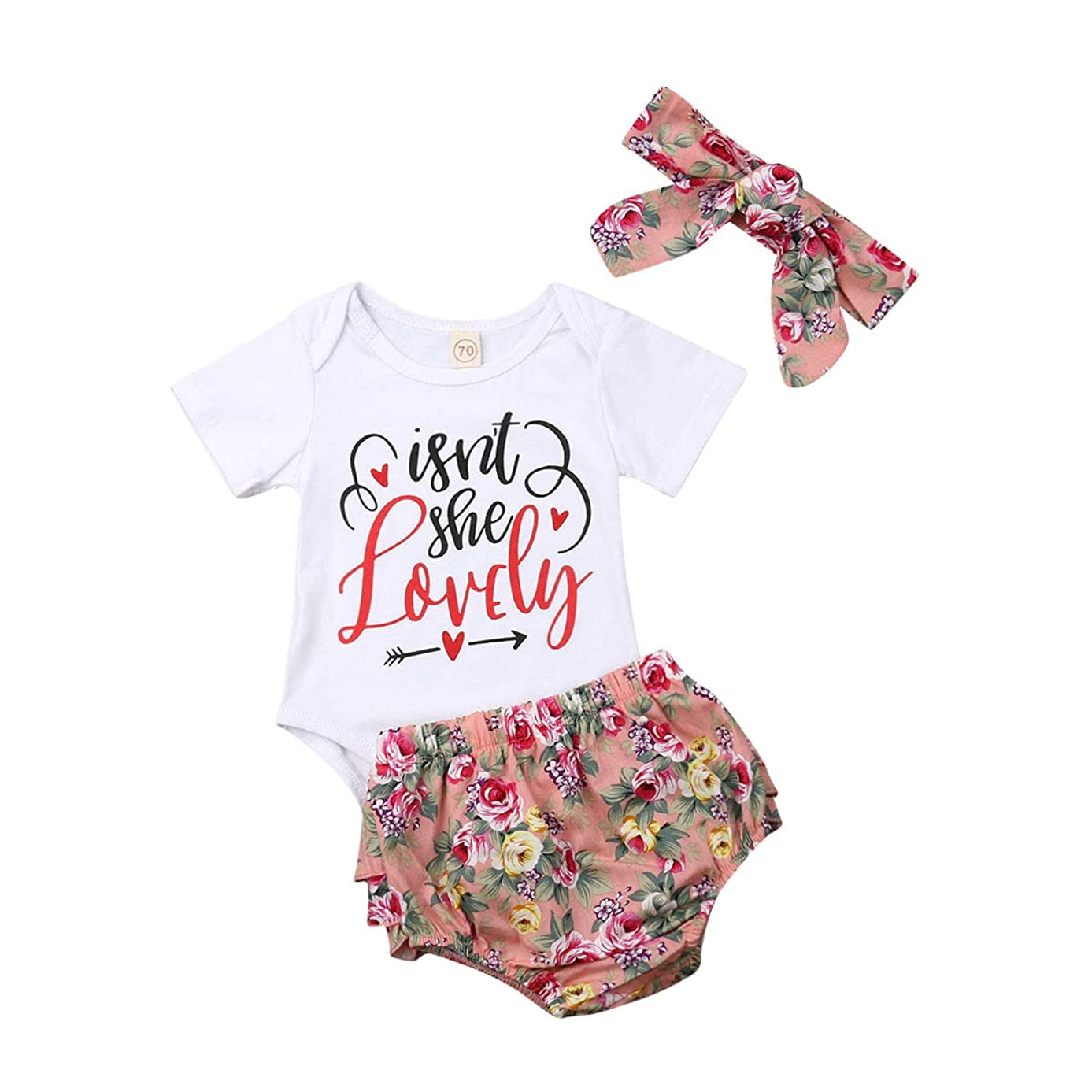 Newborn Baby Girl Clothes Isnt She Lovely Outfit White Romper Bodysuit Top Floral Pants Set with Headband Hat 4Pcs Clothing (9-12 Months, Floral)