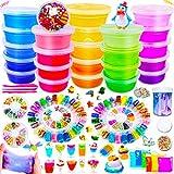 DIY Slime Kit - 24 Colores Kit de Slime Esponjoso con 48 brillantinas, Suministros de Slime Claro para nios, Incluye Arcilla Seca al Aire, rebanadas de Frutas y Herramientas