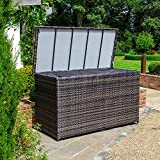 <span class='highlight'><span class='highlight'>Nova</span></span> Outdoor Living Rattan Storage Box, Brown Flat Weave Patio Furniture, Weatherproof Garden Cushion Pillow Container