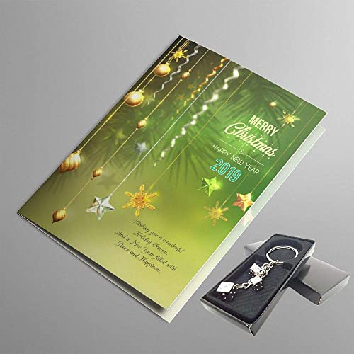Krazzy Kollections Christmas New Year Green Greeting Card Keychain Combo